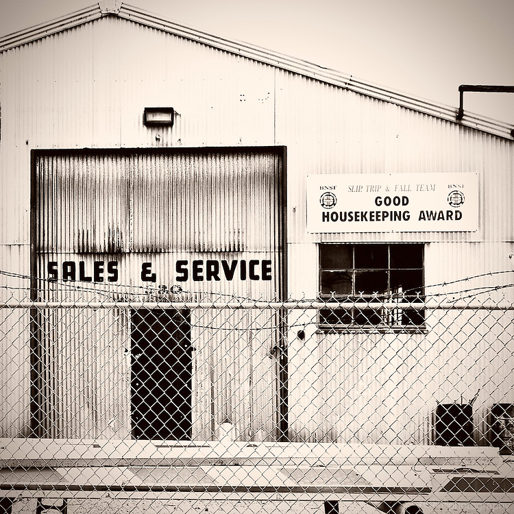 Maintenance shed near Fullerton train station in Fullerton, CA. Black and White.