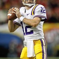 Dec 3, 2011; Atlanta, GA, USA; LSU Tigers quarterback Jarrett Lee (12) prior to kickoff of the 2011 SEC championship game against the Georgia Bulldogs at the Georgia Dome.  Mandatory Credit: Derick E. Hingle-US PRESSWIRE