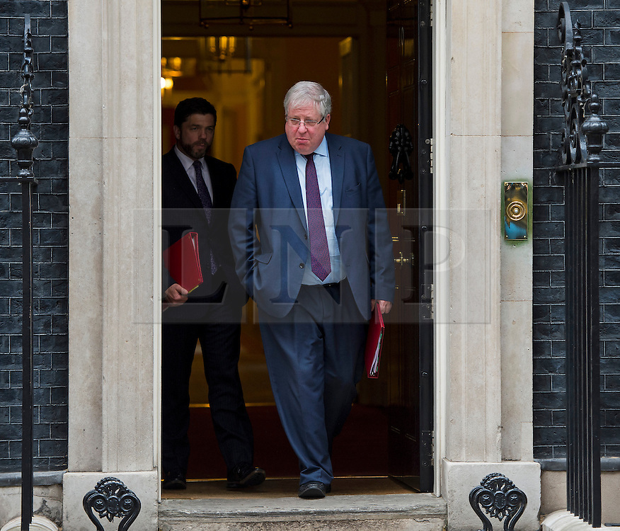 © Licensed to London News Pictures. 02/06/2015. Westminster, UK. Secretary of State for Wales STEPHEN CRABB (left) and Secretary of State for Transport PATRICK MCLOUGHLIN (right) leaving Number 10 Downing Street in London following a cabinet meeting. Photo credit: Ben Cawthra/LNP