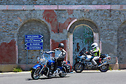 Harley Davidson Road King motorbike and BMW  R1150GS on The Stelvio Pass, Passo dello Stelvio, Stilfser Joch, to Bormio, Italy
