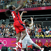 05 August 2012: USA Tina Charles goes for the layup during 114-66 Team USA victory over Team China, during the women's basketball preliminary, at the Basketball Arena, in London, Great Britain.