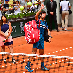 Karen Khachanov of Russia leaves the court after losing during Day 8 of the French Open 2018 on June 3, 2018 in Paris, France. (Photo by Dave Winter/Icon Sport)