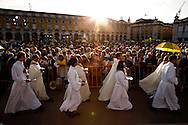 Priests during the mass celebrated by Pope Benedict XVI for thousands of people on the most important square in the country. The pope is on a four-day visit to Portugal, one of the countries with the highest percentage of Catholics in Europe, Lisbon, Portugal.