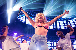 © Licensed to London News Pictures . 25/08/2017. Manchester , UK. PIXIE LOTT ( Victoria Lott )performs on the main stage on the opening night of Manchester Pride's Big Weekend . The annual festival , which is the largest of its type in Europe , celebrates LGBT life . Photo credit: Joel Goodman/LNP