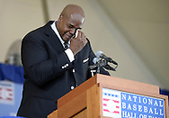 COOPERSTOWN, NY - JULY 27:  2014 Baseball Hall of Famer inductee Frank Thomas cries during his acceptance speech during the 2014 HOF induction ceremonies held at the Clark Sports Center in Cooperstown, New York on July 27 2014.