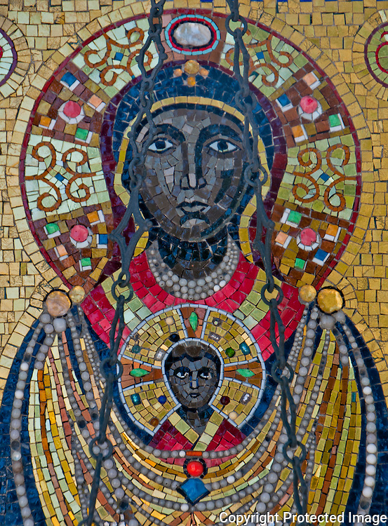 Detail of a Mosaic of the black Madonna seen on Isola San Michel in Venice, Italy.