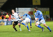 Dundee&rsquo;s Paul McGowan goes past St Johnstone&rsquo;s Murray Davidson - St Johnstone v Dundee, Ladbrokes Scottish Premiership at McDiarmid Park<br /> <br />  - &copy; David Young - www.davidyoungphoto.co.uk - email: davidyoungphoto@gmail.com