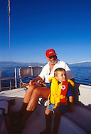 family sailing on Great Salt Lake, Utah, USA