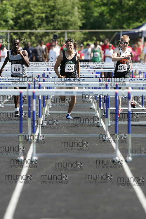 Hamilton, Ontario ---06/06/08--- Jordan Glancie of Laura Secord in St. Catherines competes in the sprint hurdles at the 2008 OFSAA Track and Field meet in Hamilton, Ontario..