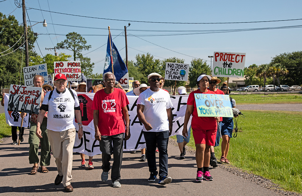 Robert Talyor leading the Coalition Agianst Death Alley march in St. John the Baptist Parish  on May 30, 2019- the first strech of a planned five day event. The marchers left from the 5th Ward Elementary School.