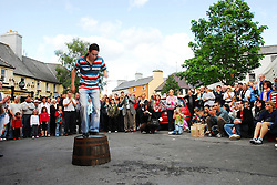Cian Scanlon gets the crowds attention with his display of Barrel Dancing during Fleadh Cheoil Chonnacht in Westport over the weekend.<br /> <br /> Pic Conor McKeown