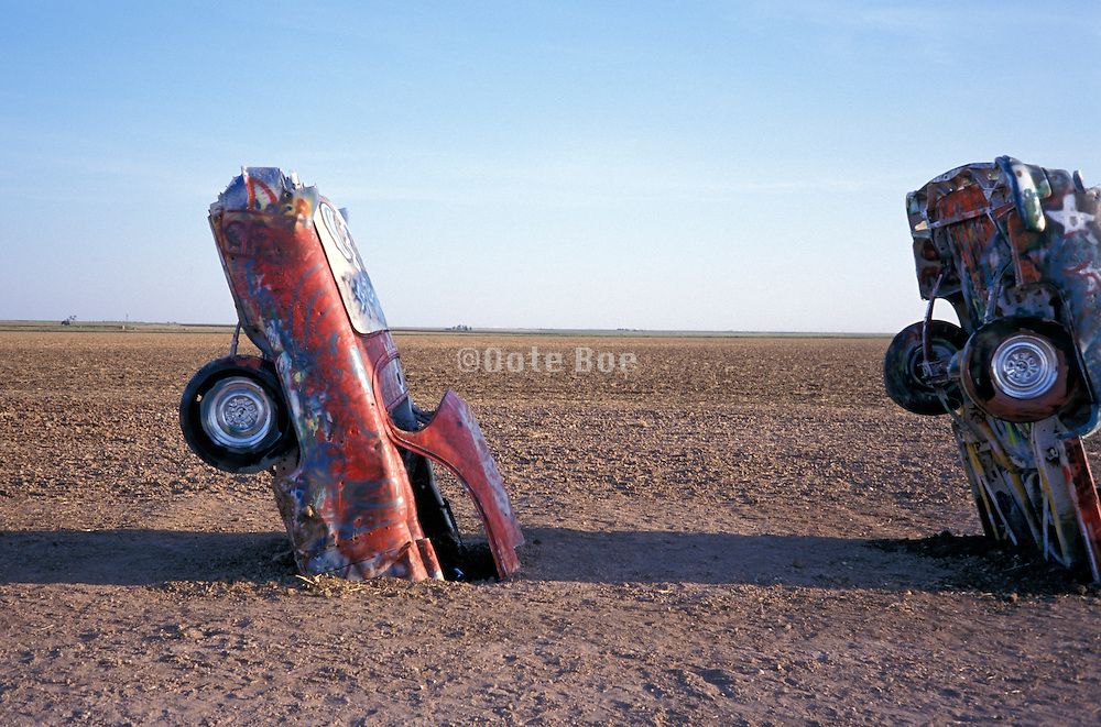 Cadillac Range public art installation and sculpture in Amarillo, Texas, USA