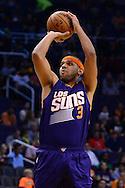 Nov 2, 2016; Phoenix, AZ, USA; Phoenix Suns forward Jared Dudley (3) shoots the ball against the Portland Trail Blazers during the first half at Talking Stick Resort Arena. Mandatory Credit: Jennifer Stewart-USA TODAY Sports