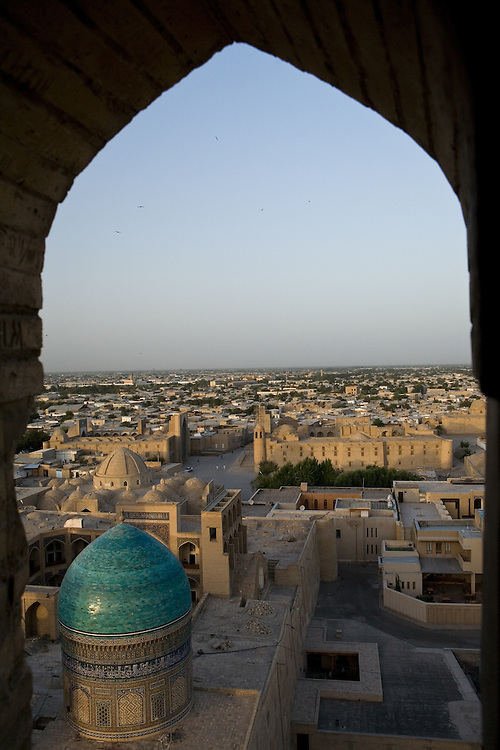 View of Mir-i Arab Medrassa and area from Kalon Minaret, Bukhara