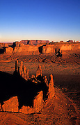 Aerial image of Monument Valley Navajo Tribal Park with Mittens and buttes, Arizona and Utah, American Southwest