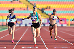 From left to right Lucile Razet, Orla Cromerford, IRE, Janne Sophie Engeleiter, GER competing in the T13, 100m at the Berlin 2018 World Para Athletics European Championships
