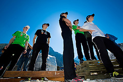 Mitja Meznar, Jurij Tepes, Nejc Dezman, Dejan Judez and Jaka Hvala at media day of Slovenian Ski jumping team during construction of two new ski jumping hills HS 135 and HS 105, on September 18, 2012 in Planica, Slovenia. (Photo By Vid Ponikvar / Sportida)