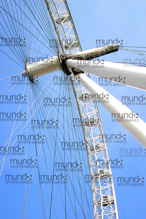 The central axis of the London Eye ferris wheel in London, England.