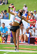 Nafi Thiam aka Nafissatou Thiam (BEL) throws 50-6¾ (15.41m) in the heptathlon shot put during the DecaStar meeting, Friday, June 22, 2019, in Talence, France. Thiam won with 6,819 points. (Jiro Mochizuki/Image of Sport via AP)