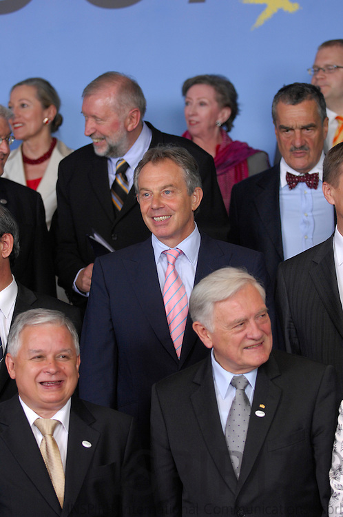 BRUSSELS - BELGIUM - 21 JUNE 2007 -- EU-SUMMIT Family Photo -- The British Prime Minister Tony Blair during the traditional Family Photo.  Photo: J. Eugene