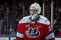 KELOWNA, CANADA - JANUARY 17: Reece Klassen #31 of the Lethbridge Hurricanes looks at the replay on the jumbotron against the Kelowna Rockets on January 17, 2018 at Prospera Place in Kelowna, British Columbia, Canada.  (Photo by Marissa Baecker/Shoot the Breeze)  *** Local Caption ***
