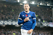 Ross Barkley (Everton) shows the fans his badge after scoring Everton's second goal. 2-0 during the Premier League match between Everton and West Ham United at Goodison Park, Liverpool, England on 30 October 2016. Photo by Mark P Doherty.