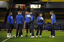 Bristol Rovers players at Roots Hall - Mandatory byline: Neil Brookman/JMP - 07966 386802 - 11/11/2015 - FOOTBALL - Roots Hall Stadium - Southend, England - Southend United v Bristol Rovers - Johnstone Paint Trophy