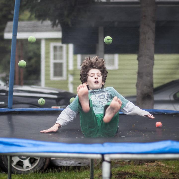 "Ten year old Xabier Libbrecht on his trampoline in his front yard on Arctic Blvd., Anchorage.  ""Xabier is always moving...he needs ways to burn off energy""  -Tanguy Libbrecht  libbrecht6@hotmail.com"