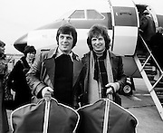 Brothers Jimmy and Tommy Swarbrigg about to depart for Stockholm where they represented Ireland in the Eurovision Song Contest. Their song, 'That's What Friends are For' came 9th in the competition, which was won by the Netherlands' entry, 'Ding-a-Dong'.<br />