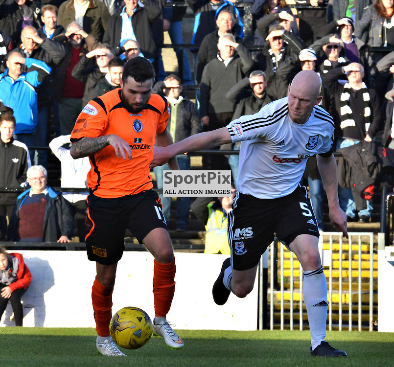 Ayr United's Gerry McLauchlan in battle against Stranraer's Sam McCloskey......(c) BILLY WHITE | SportPix.org.uk