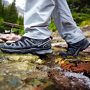 Skip the bridge for the road (or creek) less traveled, Salomon Hiking Boots, Glacier National Park, Montana.