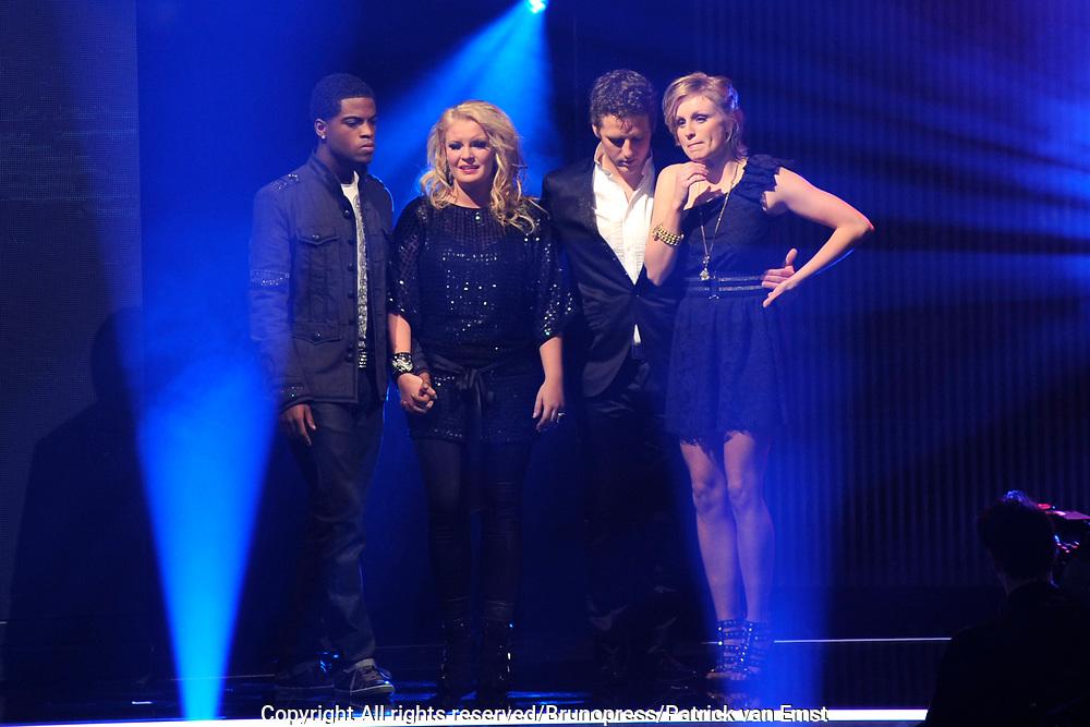 Halve Finale Popstars vanuit Studio 22 in Hilversum Op de foto:<br /> <br /> Wesley, Joshua, Kim en Kristel naar de finale!
