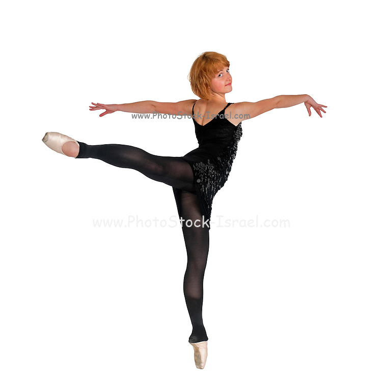 Female Ballet Dancer balances on her tows On white Background