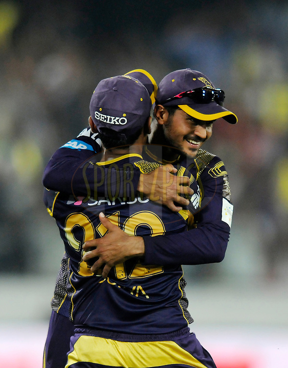 Suryakumar Yadav of Kolkata Knight Riders celebrates after taking a catch to get the wicket of Sam Whiteman of Perth Scorchers during match 10 of the Oppo Champions League Twenty20 between the Kolkata Knight Riders and the Perth Scorchers held at the Rajiv Gandhi Cricket Stadium, Hyderabad, India on the 24th September 2014<br /> <br /> Photo by:  Pal Pillai / Sportzpics/ CLT20<br /> <br /> <br /> Image use is subject to the terms and conditions as laid out by the BCCI/ CLT20.  The terms and conditions can be downloaded here:<br /> <br /> http://sportzpics.photoshelter.com/gallery/CLT20-Image-Terms-and-Conditions-2014/G0000IfNJn535VPU/C0000QhhKadWcjYs