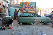 Painter Francisco Acosta at his house in Nuevo Laredo. ..http://www.facebook.com/LaFronteraArtistsAlongTheUsMexicanBorder.www.stefanfalke.com.