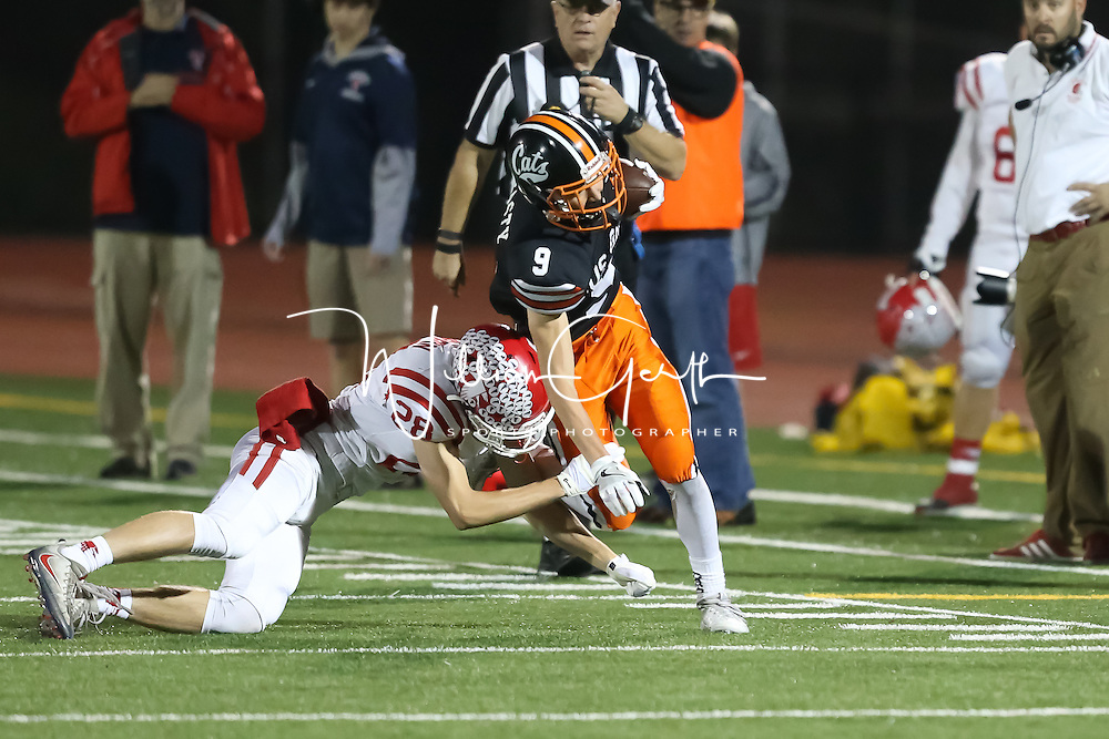 (Photograph by Bill Gerth for SVCN) Saratoga #28 William Turpin makes the stop on  Los Gatos #9 Ben Grasty in a SCVAL Football Game at Los Gatos High School, Los Gatos CA on 11/4/16.  (Los Gatos 49 Saratoga 7)