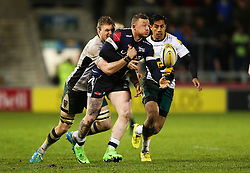 Josh Charnley of Sale Sharks is tackled - Mandatory by-line: Matt McNulty/JMP - 03/03/2017 - RUGBY - AJ Bell Stadium - Sale, England - Sale Sharks v Northampton Saints - Aviva Premiership