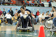 July 7th, 2006: Anchorage, AK - William Groulx (10) moves in for a score as White defeated Blue in the gold medal game of Quad Rugby at the 26th National Veterans Wheelchair Games.