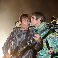 """WESTON PARK, UK:.Ian Brown and bassist Gary """"Mani"""" Mounfield of The Stone Roses on stage at the V Festival on Sunday 19th August 2012..PHOTOGRAPH BY TERRY KANE / BARCROFT MEDIA LTD..UK Office, London..T: +44 845 370 2233.E: pictures@barcroftmedia.com.W: www.barcroftmedia.com..Australasian & Pacific Rim Office, Melbourne..E: info@barcroftpacific.com.T: +613 9510 3188 or +613 9510 0688.W: www.barcroftpacific.com..Indian Office, Delhi..T: +91 997 1133 889.W: www.barcroftindia.com"""