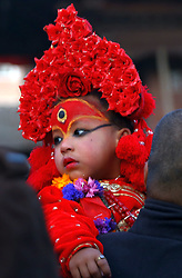 January 2, 2018 - Kathmandu, Nepal - Living Goddess Kumari is brought to Taleju temple during Changu Narayan festival at Hanumandhoka in Kathmandu, Nepal. Idol of Changu Narayan is brought every year to Taleju temple during the festival for offering prayers. (Credit Image: © Archana Shrestha/Pacific Press via ZUMA Wire)