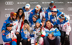 2nd placed VLHOVA Petra of Slovakia and her team celebrate at Trophy ceremony after the 2nd Run during the Ladies' GiantSlalom at 56th Golden Fox event at Audi FIS Ski World Cup 2019/20, on February 15, 2020 in Podkoren, Kranjska Gora, Slovenia. Photo by Matic Ritonja / Sportida
