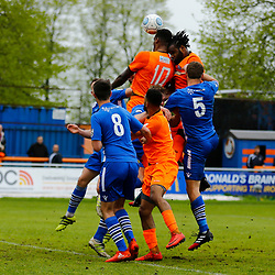 Braintrees Dan Thompson and  Mark Okoye both go for the ball during the Vanorama National League South match between Braintree Town FC and Gloucester City FC at the IronmongeryDirect Stadium, Essex on 28 April 2018. Photo by Matt Bristow.