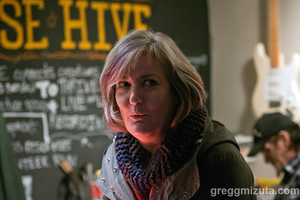 Tracey Hale helping out at the front counter for the Hive Alive! concert.<br /> <br /> Nude Dudes, Stepbrothers and Love-Lace performed at Hive Alive! an all age concert at the Boise Hive in Boise, Idaho, January 30, 2016.