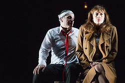 © Licensed to London News Pictures. 14/02/2013. London, UK. Eugène Ionesco's Rhinocéros is one of the major Absurdist plays of the 20th century. As compelling as ever, it warns against totalitarianism and the destructive power of the collective. Théâtre de la Ville's production has wowed critics and audiences across France and the USA with its spectacular set and gripping performances. Picture shows: Serge Maggiani & Valérie Dashwood. Photo credit: Tony Nandi/LNP
