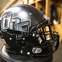 "ORLANDO, FL - OCTOBER 14: A space themed UCF helmet is seen prior to a NCAA football game between the East Carolina Pirates and the UCF Knights at Spectrum Stadium on October 14, 2017 in Orlando, Florida. The ""Space Game"" Uni's pay tribute to the history during the space race and the fact that UCF has been involved with eight NASA missions, and in 2012, a planet discovered by UCF researchers was named after it. (Photo by Alex Menendez/Getty Images)"