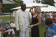 Colin Salmon and Elizabeth Murdoch, Guy Leymarie and Tara Getty host The De Beers Cricket Match. The Lashings Team versus the Old English team. Wormsley. ONE TIME USE ONLY - DO NOT ARCHIVE  © Copyright Photograph by Dafydd Jones 66 Stockwell Park Rd. London SW9 0DA Tel 020 7733 0108 www.dafjones.com