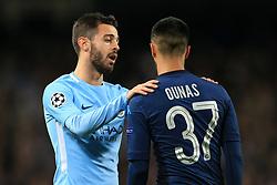 17th October 2017 - UEFA Champions League - Group F - Manchester City v Napoli - Bernardo Silva of Man City consoles a dejected Adam Ounas of Napoli - Photo: Simon Stacpoole / Offside.