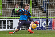 Forest Green Rovers goalkeeper Bradley Collins(1) warming up during the EFL Sky Bet League 2 match between Forest Green Rovers and Luton Town at the New Lawn, Forest Green, United Kingdom on 16 December 2017. Photo by Shane Healey.