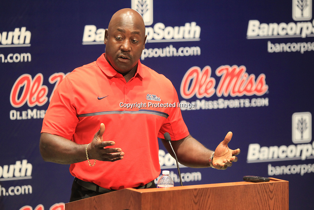 Wesley McGriff, Associate Head Coach and Defensive Coordinator, talks with media during a press conference at The Manning Center on the campus of Ole Miss on Monday afternoon.