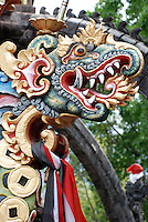 Painted dragon sculpture at Agong Temple.